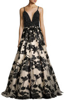 Jovani Sleeveless Beaded Embroidered Combo Gown, Nude/Black