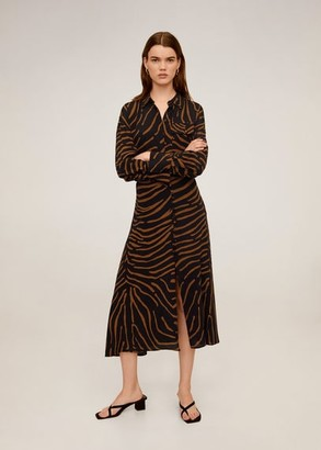 MANGO Flowy zebra printed shirt black - 2 - Women