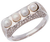 Lord & Taylor Pearl Cubic Zirconia and Sterling Silver Ring
