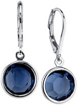 2028 Silver-Tone Faceted Blue Crystal Drop Earrings