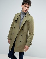 Asos Double Breasted Trench Coat With Shower Resistance in Light Khaki