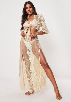 Missguided Premium Nude Co Ord Lace Maxi Beach Skirt