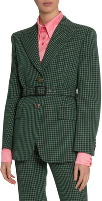 Givenchy Tailored Check Wool Crepe Jacket