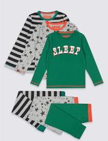 Marks and Spencer 3 Pack Cotton Rich Pyjamas (9 Months - 8 Years)