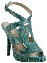 Pour la Victoire teal python leather 'Serefina' platform sandals