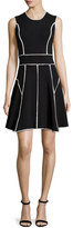 Lela Rose Contrast-Seam Fit-and-Flare Dress, Black/Ivory