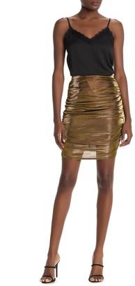 Metallic Ruched Mini Skirt