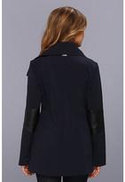 Calvin Klein Asymmetrical Wing Collar Pant Coat w/ PU Arm Detail