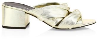 3.1 Phillip Lim Cube Twist Metallic Leather Mules