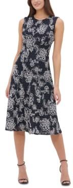 Tommy Hilfiger Lace Fit & Flare Midi Dress