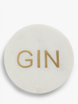 John Lewis & Partners Gin Marble Coaster, White/Brass