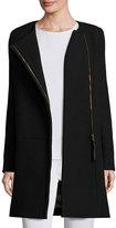 Chloé Long-Sleeve Two-Tone Sweater Coat, Black