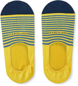 Marcoliani Milano Invisible Touch Striped Stretch Pima Cotton-blend No-show Socks - Yellow