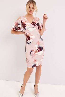 Girls On Film Floral Cold Shoulder Bodycon Dress