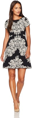 Adrianna Papell Women's Petite Lace Printed Fit & Flare