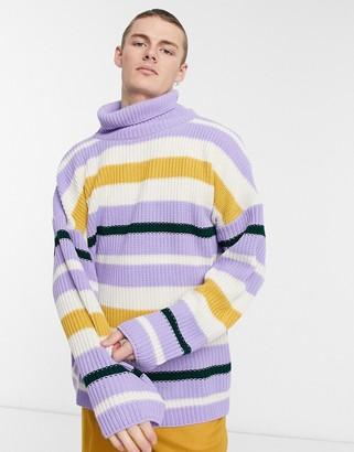 ASOS DESIGN oversized funnel neck fisherman ribbed sweater in multi color stripe