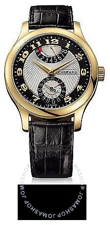 Chopard L.U.C Quattro Mark II Silver and Black Dial Yellow Gold Black Leather Men's Watch