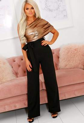 Pink Boutique Made In Milan Stretch Bronze Metallic Lurex Ruched Jumpsuit