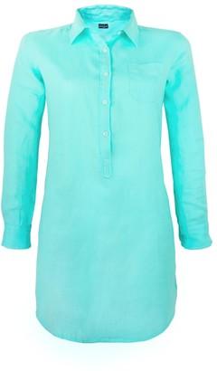 MC2 Saint Barth Solid Turquoise Linen Shirt Dress