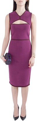 Narciso Rodriguez Purple Silk Knit Cut Out Yoke Sleeveless Sheath Dress S
