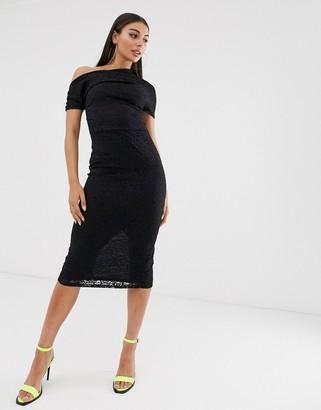 Asos Design DESIGN Pleated Shoulder Lace Midi Dress-Black