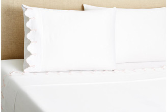Belle Epoque Embroidered Scalloped Sheet Set - Pink Twin
