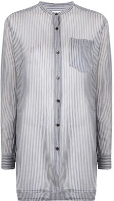 Dries Van Noten Pre-Owned 2000s Semi-Sheer Striped Long Shirt