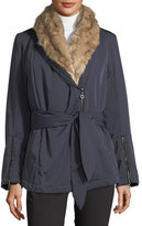 Halston Faux-Fur-Trim Shawl Collar Coat