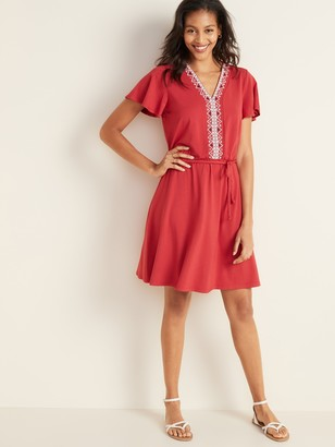 Old Navy Waist-Defined Embroidered Tie-Belt Jersey Dress for Women