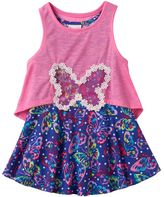 Nannette Toddler Girl Butterfly Dress & Detachable Slubbed Tank Top Popover Set