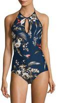 Fuzzi Swim Darkness One-Piece Tropical-Print Swimsuit