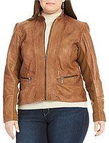 Bernardo Plus Mock Neck Genuine Leather Jacket