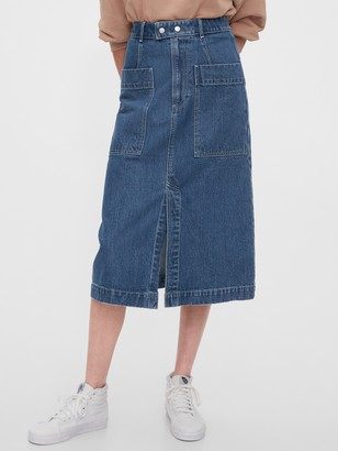 Gap A-line Denim Midi Skirt