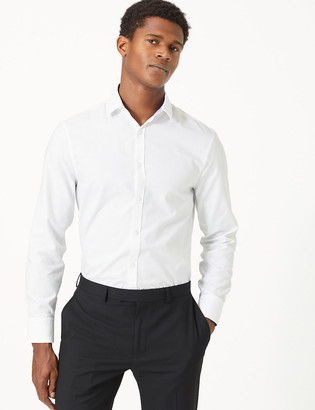 Marks and Spencer Skinny Fit Textured Easy to Iron Shirt