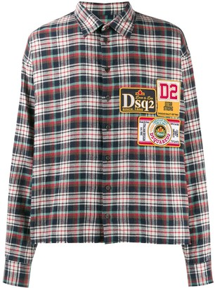 DSQUARED2 Plaid Logo Patch Shirt