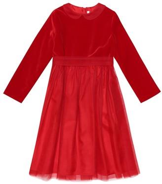 Il Gufo Velvet and tulle dress
