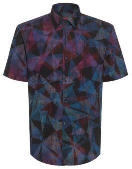 HUGO BOSS Geometric Print Slim Fit Shirt In Cotton Canvas - Black
