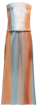 Carl Kapp - Prism Pleated Lame Gown - Womens - Silver Multi