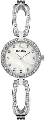 Bulova Women's Swarovski Crystal Accented Cutout Link Watch, 26mm