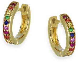 Sydney Evan Rainbow Sapphire Huggie Hoop Earrings