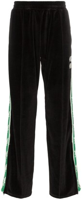 Off-White Eagle Logo Stripe Velvet Cotton Blend Sweat Pants