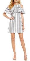 Gianni Bini Mia Striped Ruffle Cold-Shoulder Dress