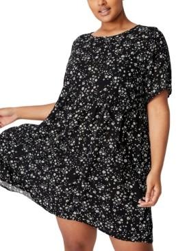 Cotton On Women's Trendy Plus Size Good Times Babydoll Mini Dress