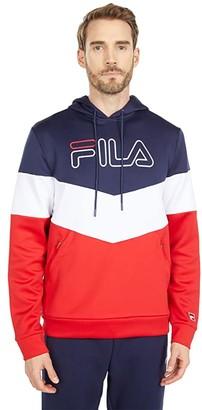 Fila Gerado Tech Hoodie (Peacoat/Chinese Red/White) Men's Clothing