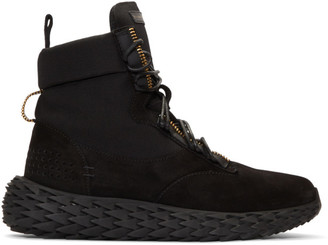 Giuseppe Zanotti Black Velour Urchin Combat Sneakers