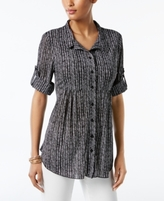 Style&Co. Style & Co Style & Co Petite Plaid Empire Tunic Shirt, Created for Macy's