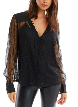 Allison New York Women's Lace Button Down Blouse with Cami