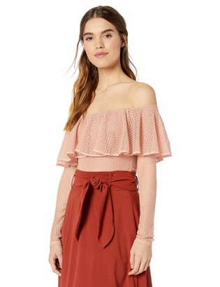 BCBGMAXAZRIA Women's Off The Shoulder Bodysuit with Ruffle