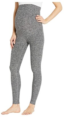 Beyond Yoga Maternity Empire Waisted Spacedye Midi Leggings (Black/White) Women's Casual Pants