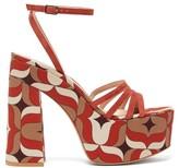 Gianvito Rossi Ursula 85 1960s-print Suede Platform Sandals - Womens - Orange Multi
